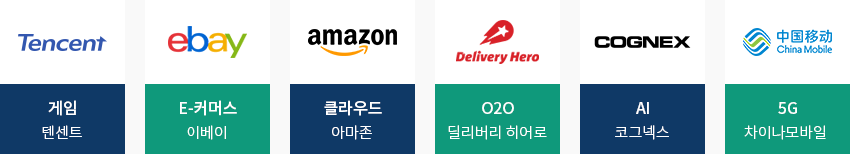 게임:Tencent, E-커머스:ebay, 클라우드:amazon, O2O:Delivery Hero, AI:COGNEX, 5G:China Mobile