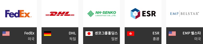 US:FedEx, GERMANY:DHL, JAPAN:NH-SENKO, HONGKONG:ESR, US:EMP BELSTAR